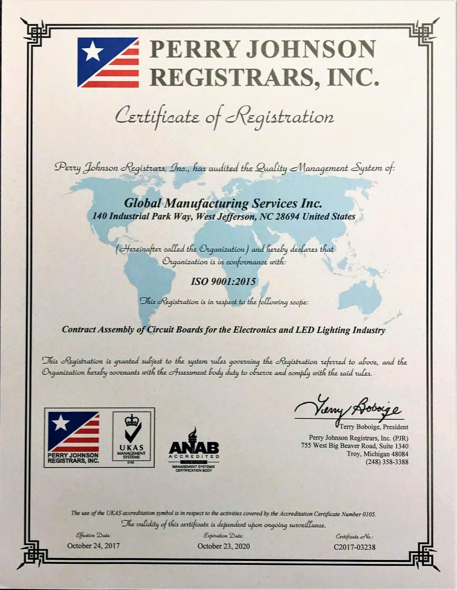 Iso 9001 2015 Certified Global Manufacturing Services Inc
